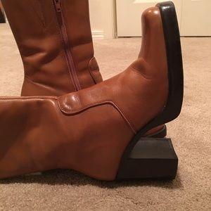 Mid calf length boots.